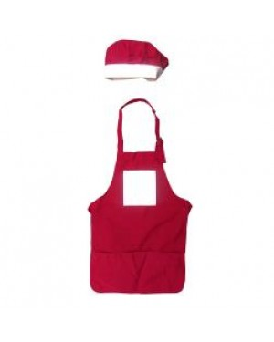 Apron and Chef Hat - Kids Baking Set - Red