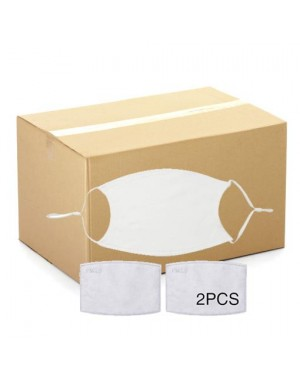 BULK CARTON (500 pieces) - Face Coverings - Plain White - Adult Size with 2 x PM2.5 Filters