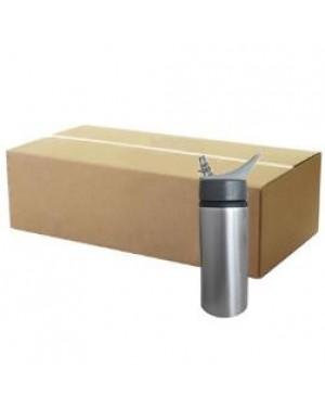 FULL CARTON - 60 x Handled 650ml Water Bottle - Silver