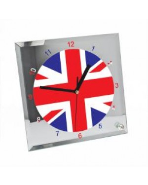 Clock - Glass - Square WITH NUMBERS - 20cm Desk Clock