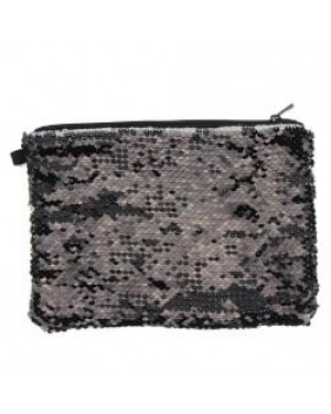 Sequins Hangbag/ Cosmetic Bag - Black Reversible - 15cm x 20cm