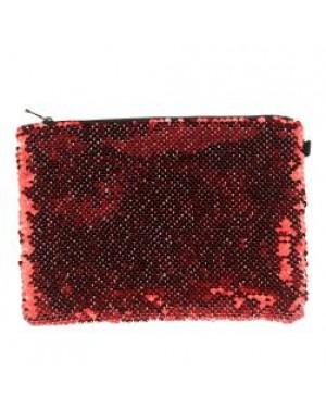 Sequins Hangbag/ Cosmetic Bag - Red Reversible - 15cm x 20cm