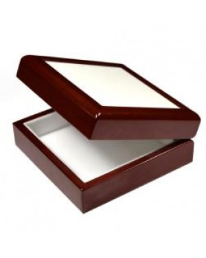 Jewellery Box with Ceramic Tile - Brown - 6in x 6in