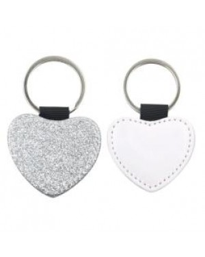 Keyring - 10 x PU Glitter Keyring - Heart - Silver