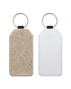 Keyring - 10 x PU Glitter Keyring - Rectangle - Gold