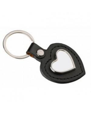 Keyring - 10 x Metal & PU Keyring - Heart - Black