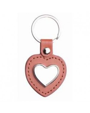Keyring - 10 x Metal & PU Keyring - Heart - Brown