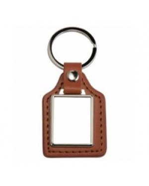 Keyring - 10 x Metal & PU Keyring - Rectangle Brown