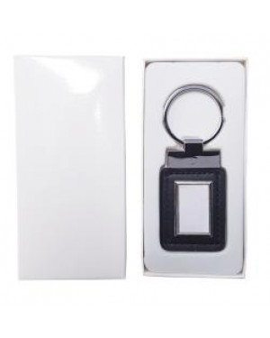 Keyring - 10 x Metal & PU Keyring - Rectangle Tag - Black