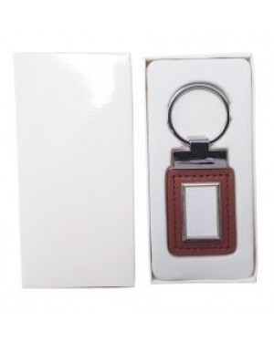 Keyring - 10 x Metal & PU Keyring - Rectangle Tag - Brown
