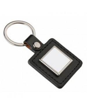Keyring - 10 x Metal & PU Keyring - Square - Black