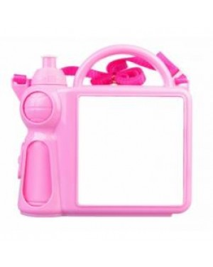 Lunchbox - Plastic - Water Bottle and Handle - Pink
