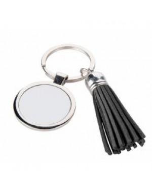 Keyring - 10 x Metal & PU Keyring - Round - Short Tassel - Black