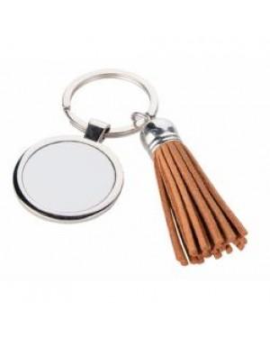 Keyring - 10 x Metal & PU Keyring - Round - Short Tassel - Brown