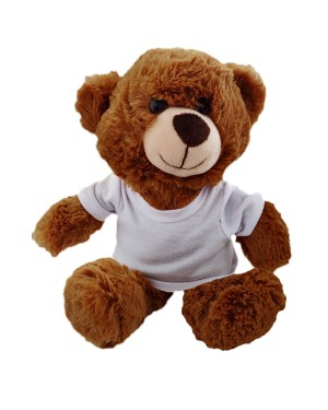 Soft Toys - Dark Brown Teddy Bear with Printable T-Shirt