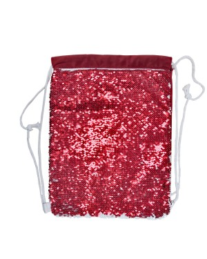 Sequin DRAWSTRING Bag - 38.5cm x 30cm - RED