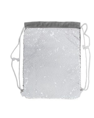 Sequin DRAWSTRING Bag - 38.5cm x 30cm - SILVER