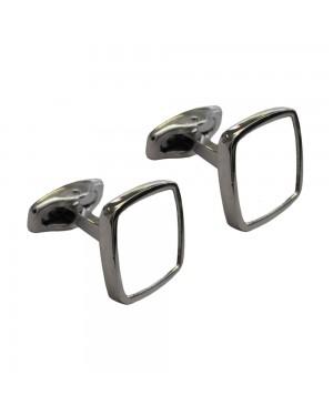 Cufflinks - Premier Range - Chrome - Curved Square - Pair
