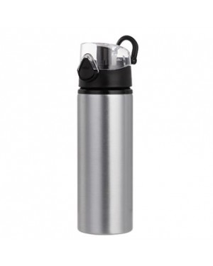 Water Bottles - BLACK - Coloured Flip Lid - 750ml - Silver