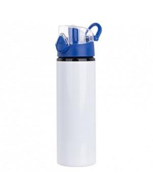 Water Bottles - BLUE - Coloured Flip Lid - 750ml - White