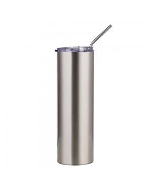Water Bottles - Slim Stainless Steel - SILVER - 600ml Tumbler with Straw