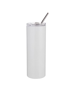 Water Bottles - Slim Stainless Steel - 600ml with Straw - White