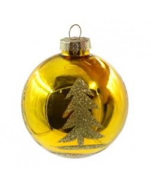 Ornaments - Ceramic - Christmas Bauble - Golden Tree Design