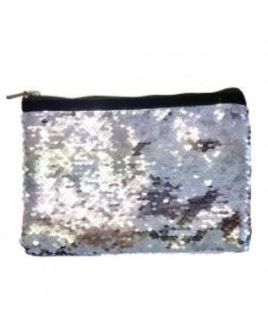 Sequins Hangbag/ Cosmetic Bag - Silver Reversible - 15cm x 20cm