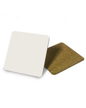 Coaster - Aluminium - Square - 9.5cm - Cork Base