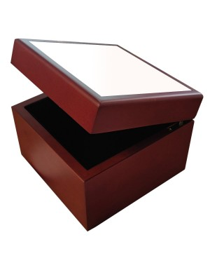 Jewellery Box with Ceramic Tile - Brown - 4in x 4in