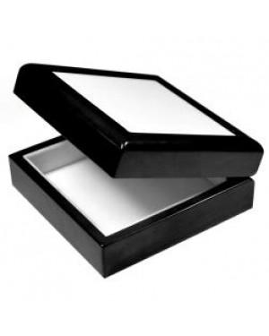 Jewellery Box with Ceramic Tile - Black - 4in x 4in