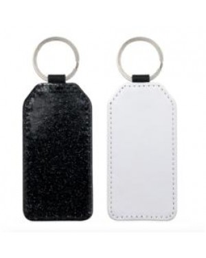 Keyring - 10 x PU Glitter Keyring - Rectangle - Black