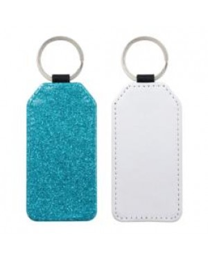 Keyring - 10 x PU Glitter Keyring - Rectangle - Blue
