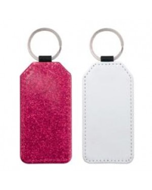 Keyring - 10 x PU Glitter Keyring - Rectangle - Pink