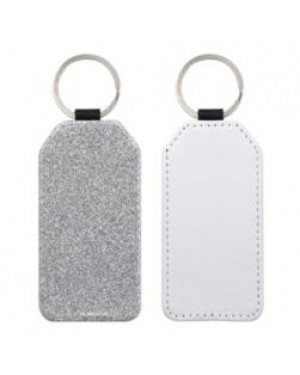 Keyring - 10 x PU Glitter Keyring - Rectangle - Silver