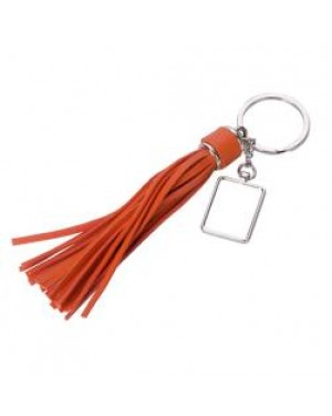 Keyring - 10 x Metal & PU Keyring - Long Tassel - Orange