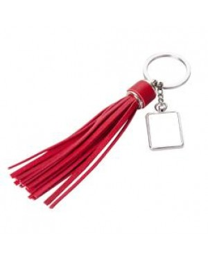 Keyring - 10 x Metal & PU Keyring - Long Tassel - Red
