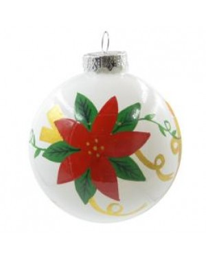 Ornaments - Ceramic - Christmas Bauble - White and Floral Design