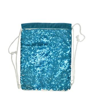 Sequin DRAWSTRING Bag - 38.5cm x 30cm - LIGHT BLUE