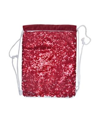 Sequin DRAWSTRING Bag - 38.5cm x 30cm - RED