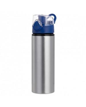 Water Bottles - BLUE - Coloured Flip Lid - 750ml - Silver