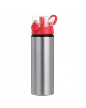 Water Bottles - RED - Coloured Flip Lid - 750ml - Silver