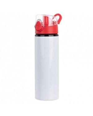 Water Bottles - RED - Coloured Flip Lid - 750ml - White