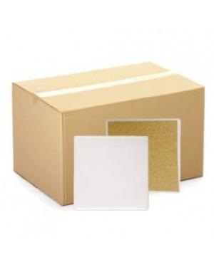 CARTON (144pcs) - MATT - Coaster - Ceramic - Square - 10cm - Cork Base